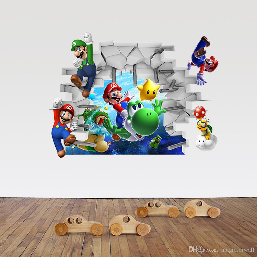 Super Mario Cracked Wall Decal Sticker Kids Room Diy Home Decoration  Cartoon Super Mario Wall Art Murals Posters Home Decals Walls Home Decor  Decals From ... Part 18