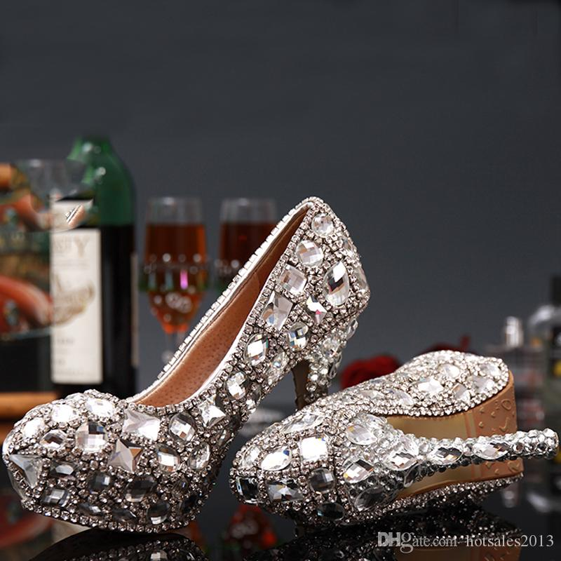 Lady Sexy Tacones altos Zapatos Mujer Tacón de aguja Hecho a mano Partido Bombas de diamantes de imitación Plataforma Bombea Cristal Zapatos de boda nupciales