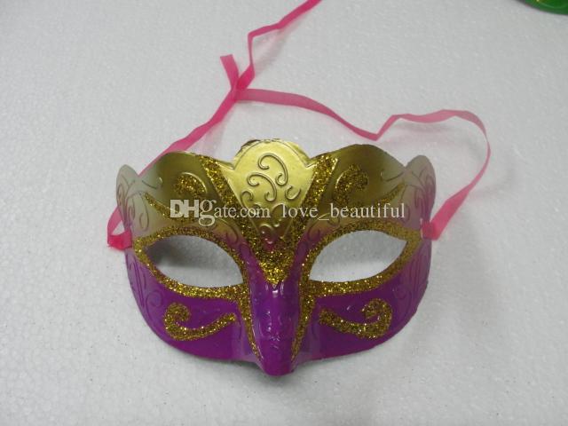 2016 orden de la mezcla 100 unids / lote promoción venta máscara del partido de oro de la mascarada de moda veneciana colorida envío gratis