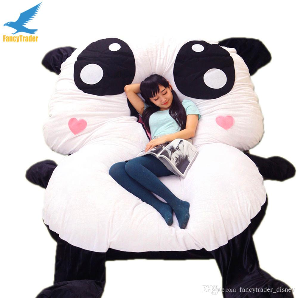 2019 Fancytrader Cartoon Giant Panda Beanbag Soft Stuffed