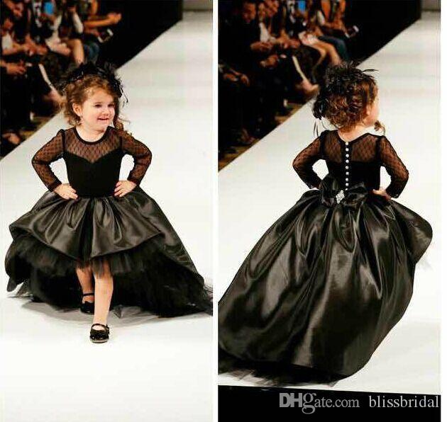 Ball Gown Black FOrmal High Low Kids Pageant Dresses Tulle Long Sleeves Sheer Back Bow Flower Girl Dresses Satin Party Gowns