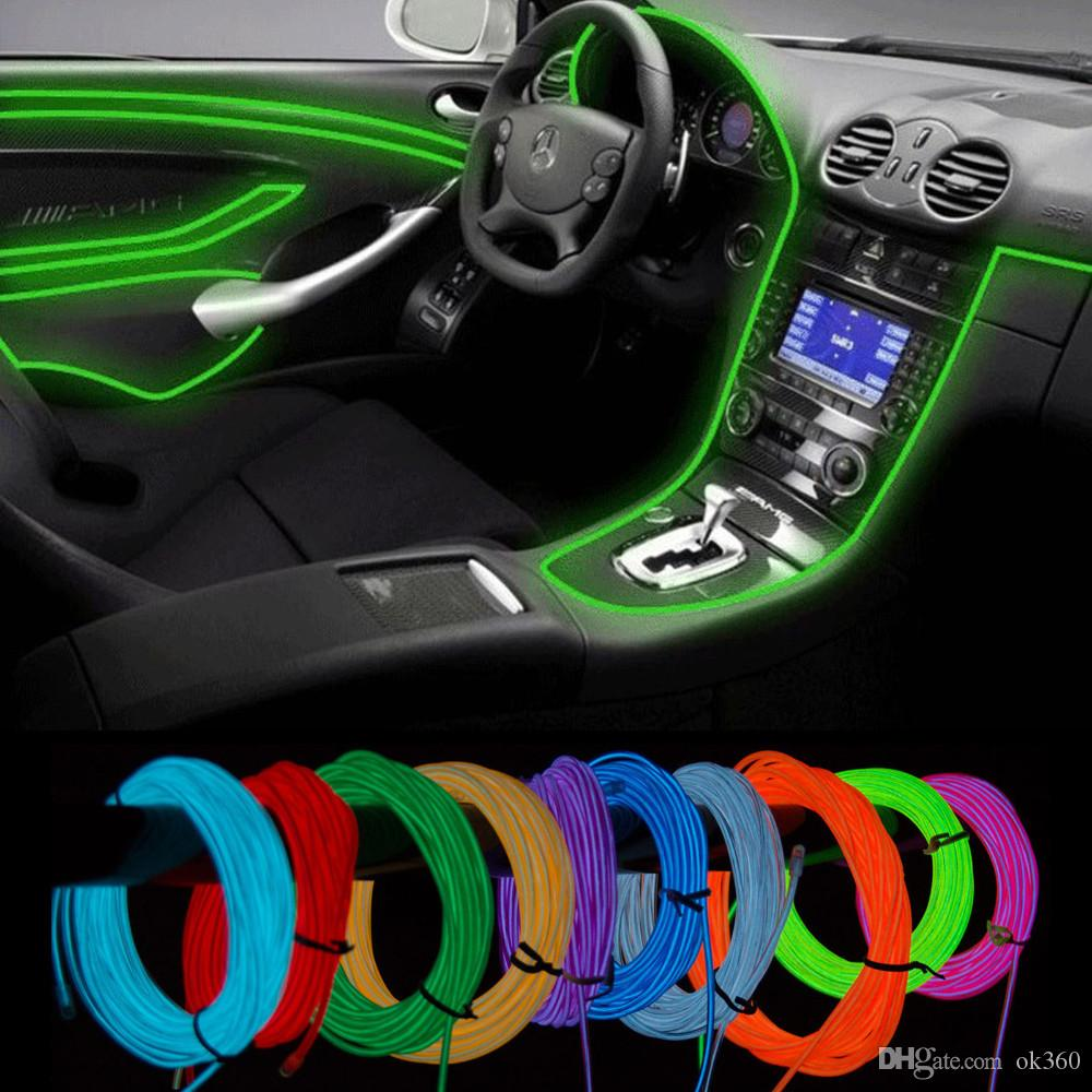 3M Flexible Neon Light Glow EL Wire Rope Tube Flexible Neon Light Car Dance Party Costume+Controller Christmas Holiday Decor Light
