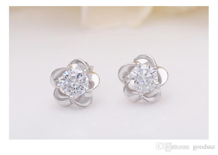 925 Sterling Silver Stud Brincos Moda Jóias Cinco Folhas Flor com Zircônia Cristal Estilo Elegante Brinco para As Mulheres Meninas MOQ