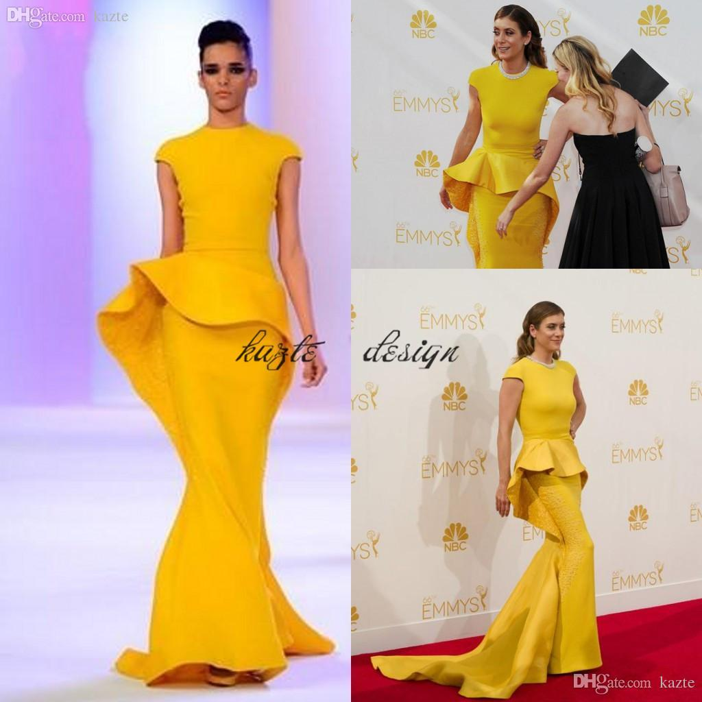 ca2a8fb98447 Cap Sleeves Mermaid Evening Dresses 2017 Gorgeous Sequins Beaded Satin  Mustard Yellow Formal Prom Dresses Celebrity Dresses With Peplum Short  Puffy Prom ...