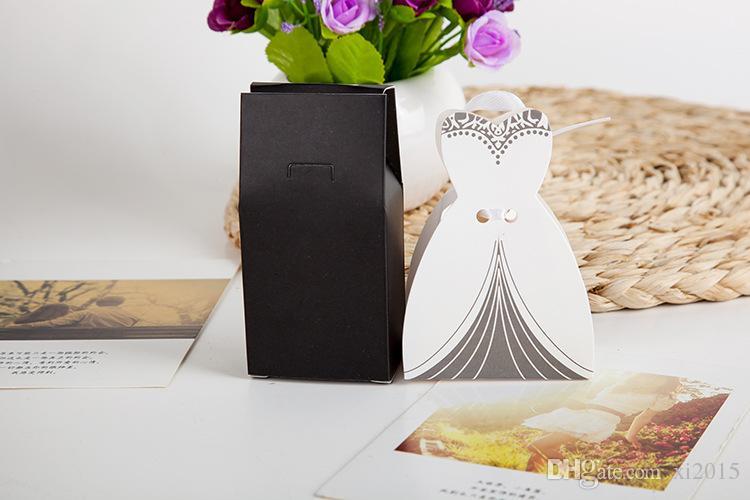 2015 Новое Прибытие Свадьба Box Box 2000PASS = 4000 шт. / Лот Жених и Жених Подарок Конфета коробка с лентой