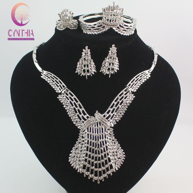 2019 Fashion Dubai Gold Silver Plated Crystal Jewelry