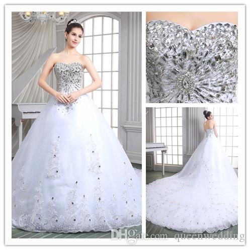Luxury long 2015 wedding dresses with crystal bridal gowns with long see larger image junglespirit Gallery