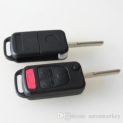 High quality car replacement key case for Mercedes Benz 3+1 button flip folding remote key blank shell