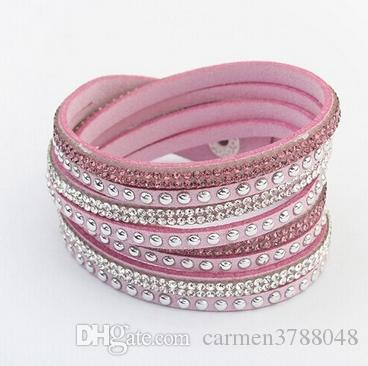 crystal bracelets for women leather braided crystal bracelets rivets long wrap crystal bracelets