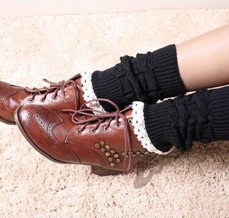 Women Girl Leg Warmers Hosiery Stockings Crochet Knit button white Lace trim Boots socks Cuff Leggings Tight
