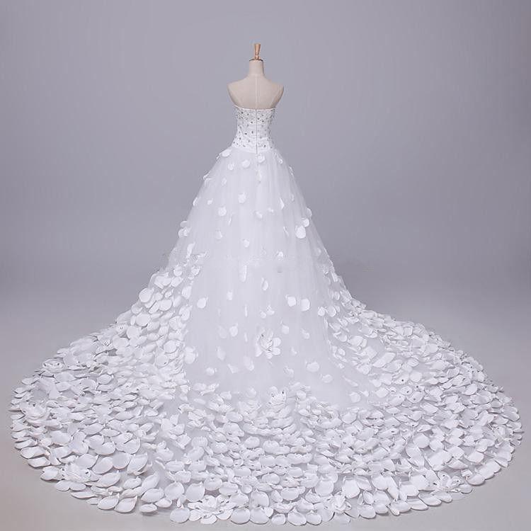 Incrível Imagem Real Fluffy Tulle De Cristal Vestidos De Noiva De Praia vestido de Baile Vestido de Noiva Querida Plissado Trem Catedral