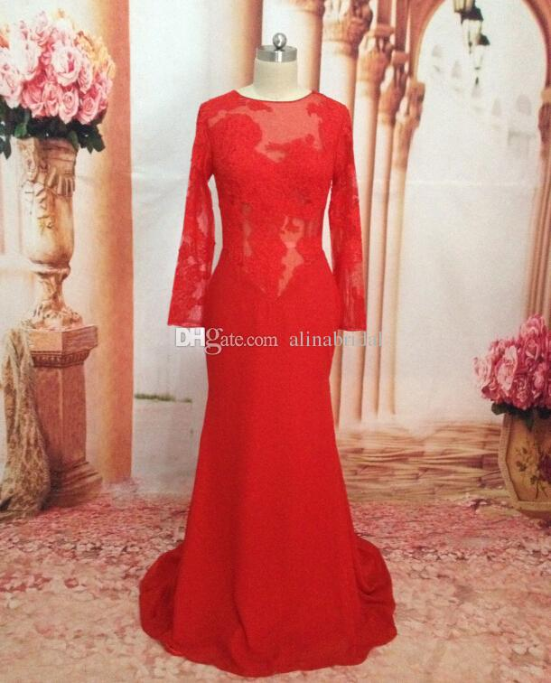 Immagine reale Maniche lunghe Abiti da cerimonia Abiti da sera 2018 Vedere attraverso Sheer Backless Women Lace Dress Sirena Satin Red Party prom Gowns