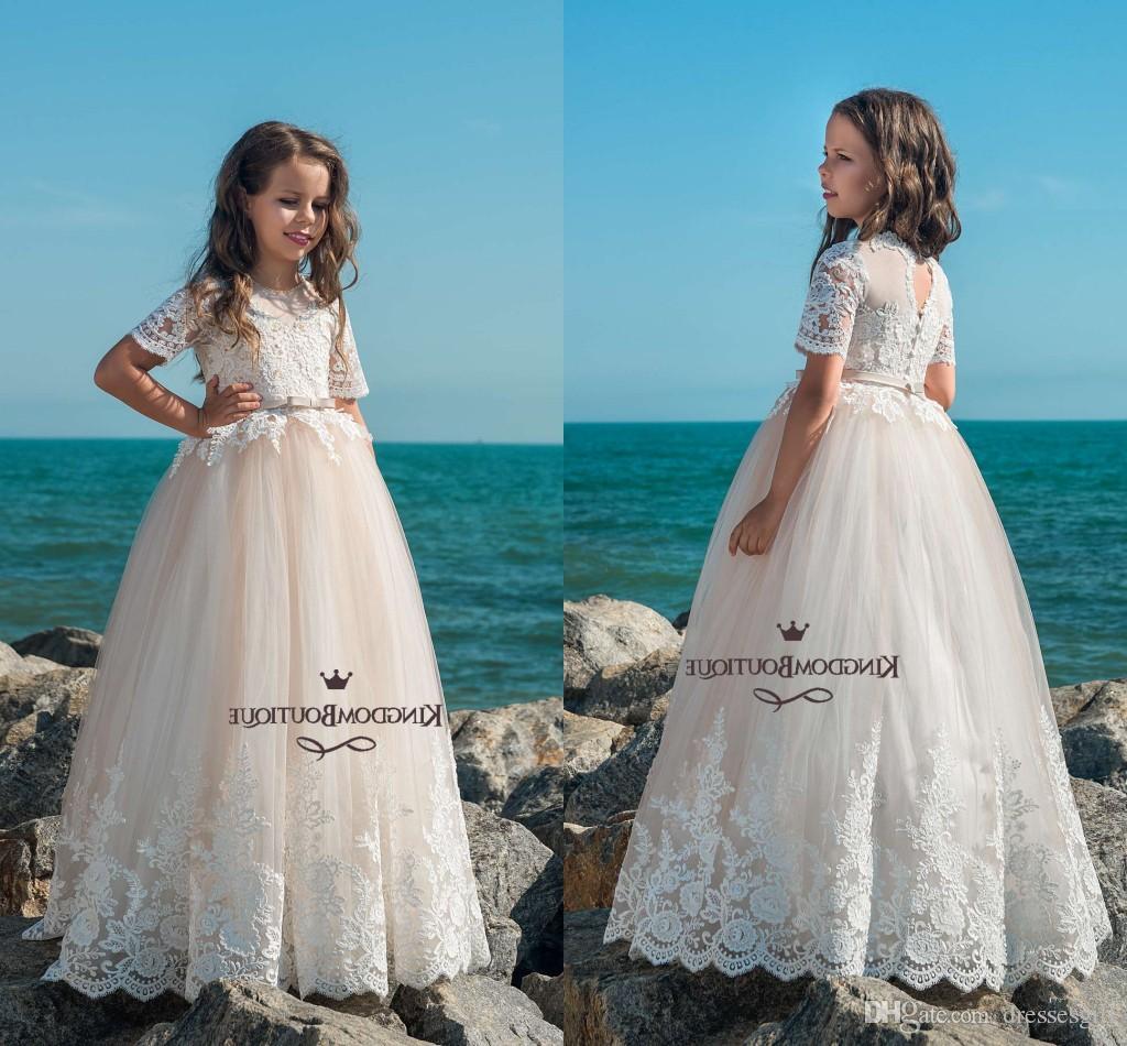 2018 Cute A Line Flower Girl Dresses Lace Applique Short Sleeveless ...