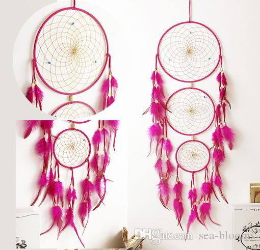 2018 Handmade Dream Catcher Net With Feathers Hanging Decoration Craft For Kids Bed Room Birthday Wishes Free DHL D357LR From Sea Blooms