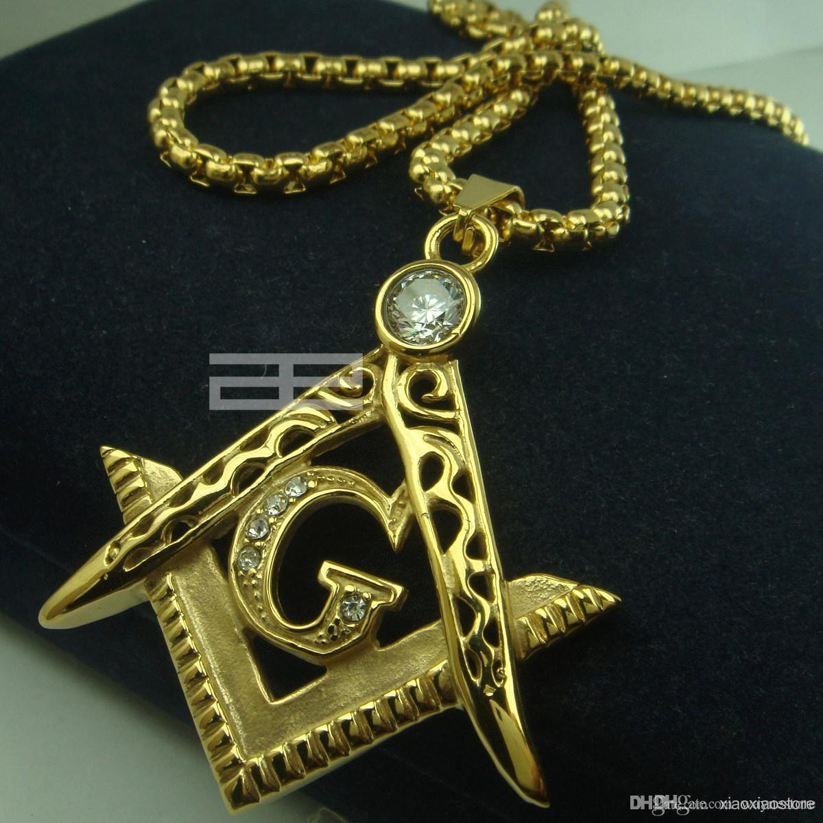 Wholesale mens 18k gold fiiled freemasonry masonic mason pendant wholesale mens 18k gold fiiled freemasonry masonic mason pendant free chain necklace n214 butterfly pendant necklace birthstone pendant necklace from aloadofball Gallery
