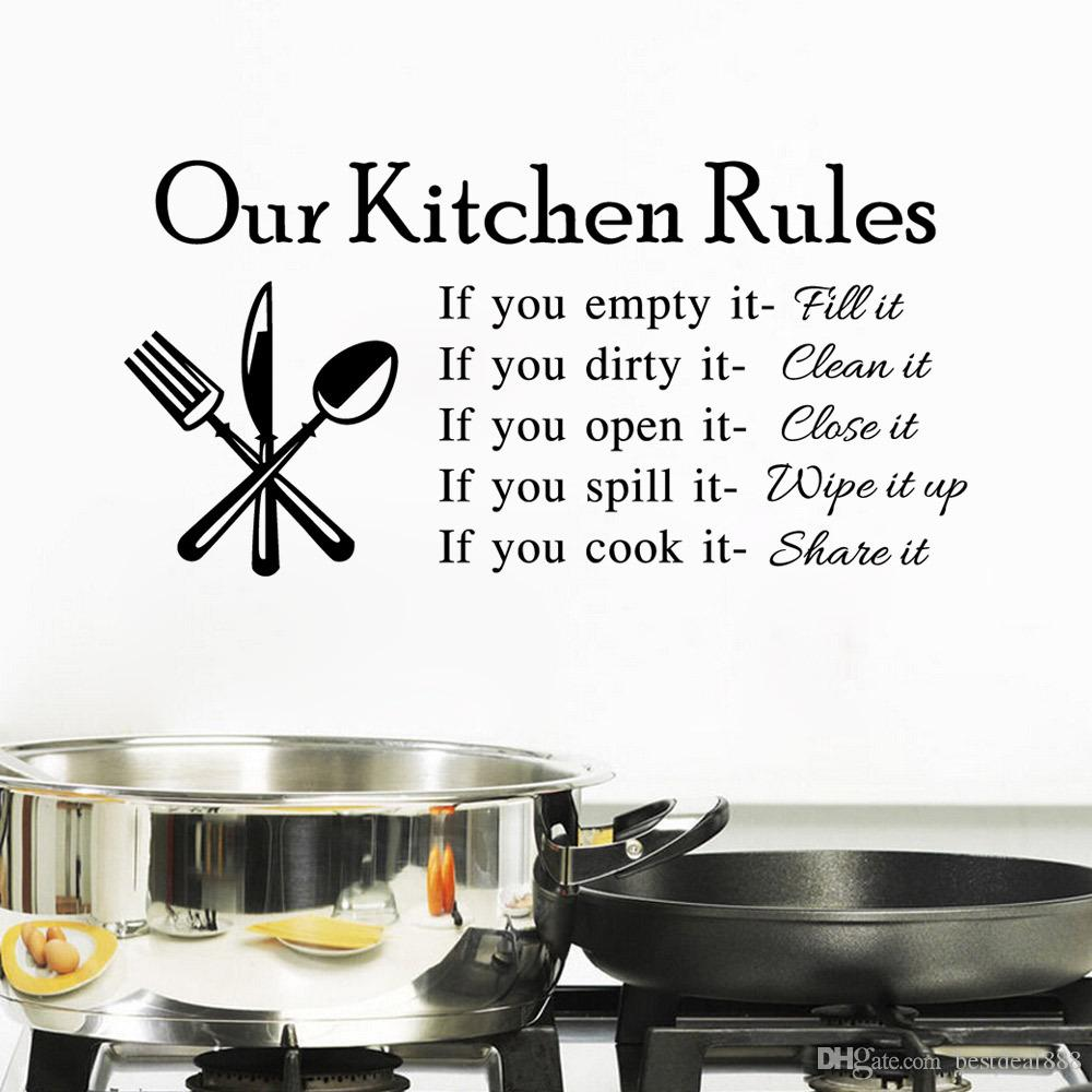 Hot Quote Vinyl Art Wall Stickers Decal Our Kitchen Rules - Custom vinyl wall decals for kitchen