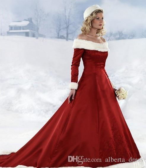 long sleeve Red Christmas dresses Hot New winter fall dresses A-line Wedding Dressesn Off-shoulder Satin Floor-Length Christmas Bridal Dress