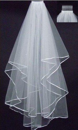싼 절묘한 짧은 신부 베일 리본과 빗이있는 두 개의 레이어를 그물 얼룩 가장자리 웨딩 베일 웨딩 액세서리 화이트 아이보리