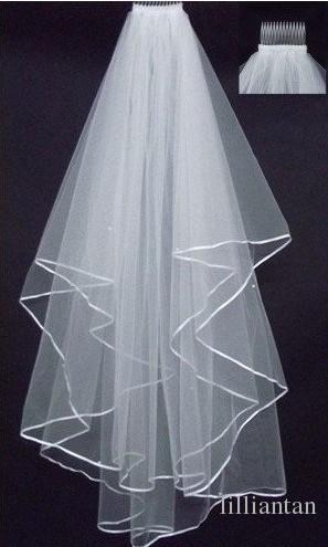 Barato exquisito corto de velo nupcial de la red dos capas con peine con cintas de manchas del borde de la boda del borde del borde de la boda marfil blanco