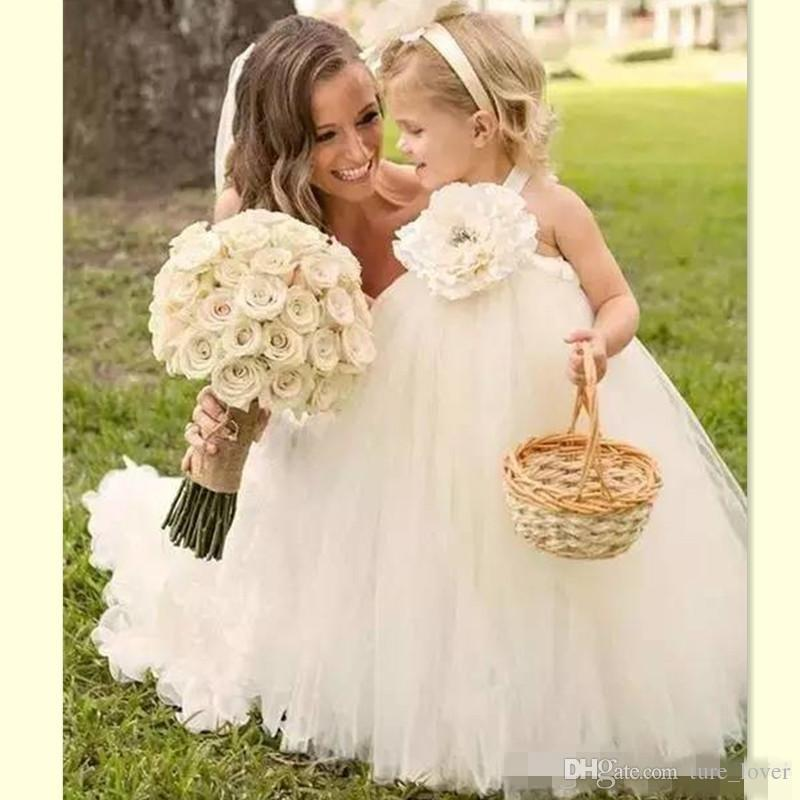 2017 Halter White Ball Gown Tulle Flower Girl Dresses Puffy Style Girls Weddings Party Gowns Cute Baby Dress