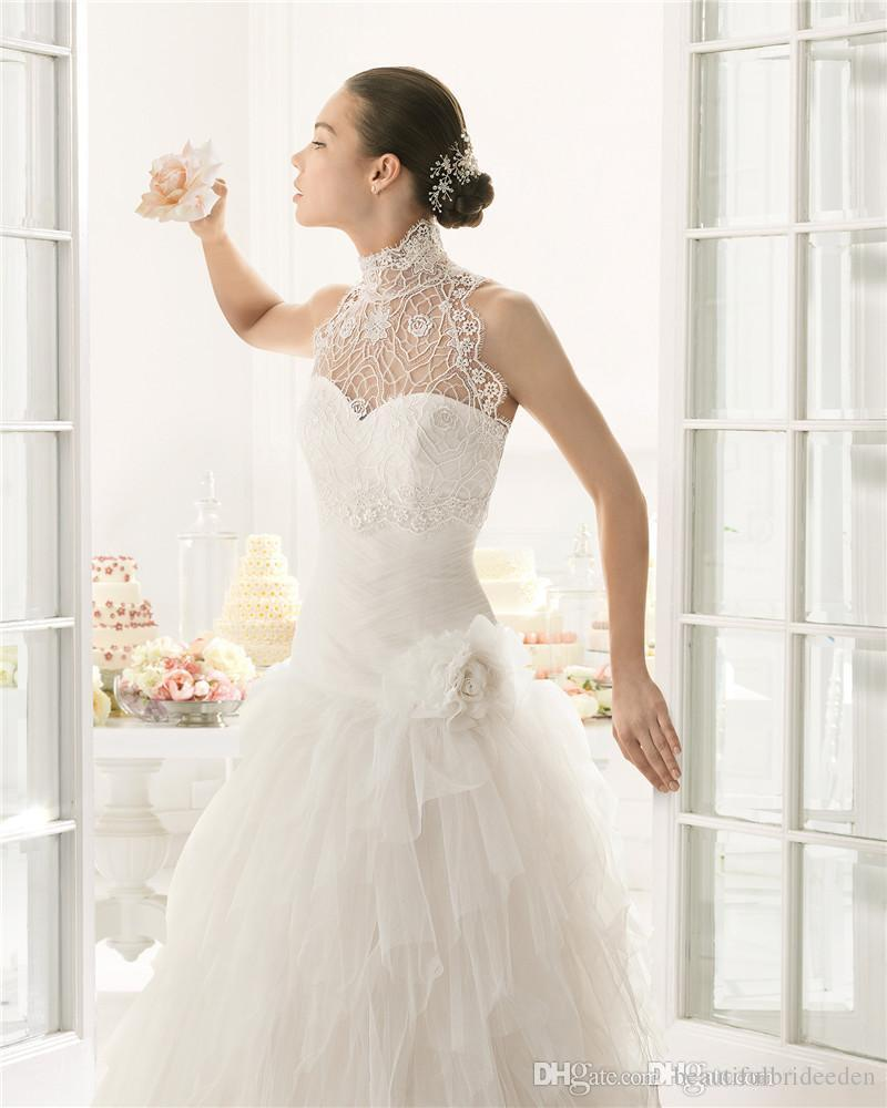 New Wedding Dresses Bridal Gown With A Line Strapless Detachable Jacket High Neck Cascading Ruffles Tulle Sweep Train