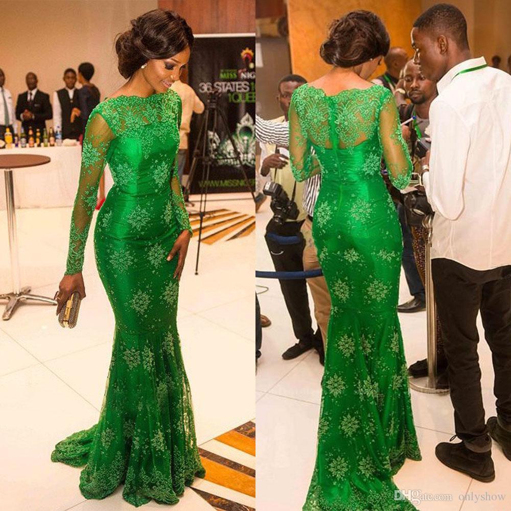 Großhandel Fräulein Nigeria Promi Roter Teppich Kleider Prom Smaragd ...