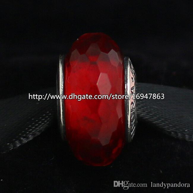 plata de ley 925 joyas de estilo Red fascinante facetadas de cristal de Murano cupieron Europea Pandora pulseras del encanto Collares-08