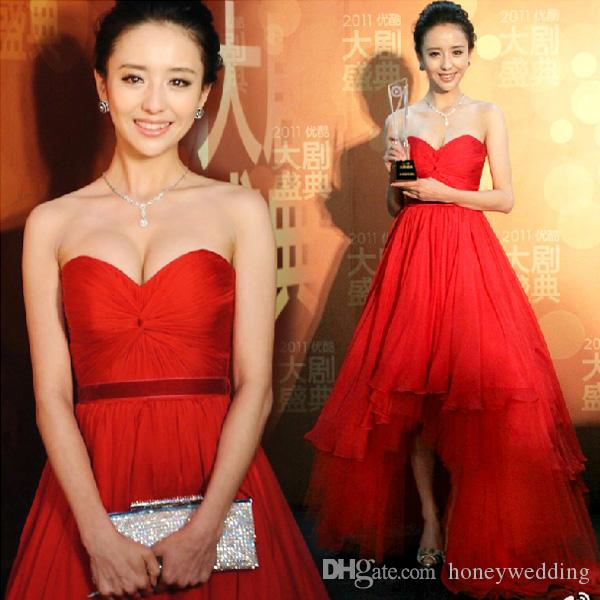 Fashion Celebrity Red Carpet Dresses Evening Wear Sweetheart Pleats High Low Prom Dress Ball Gowns Short Front Long Back Party Dress Cheap