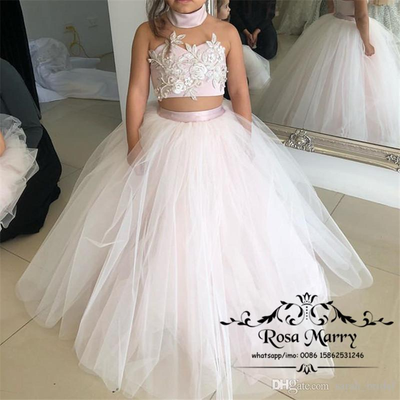 Two Pieces Ball Gown Flower Girls Dresses for Wedding 2020 Halter Vintage Lace Cheap Girls Pageant Birthday Christmas Party Gowns for Kids