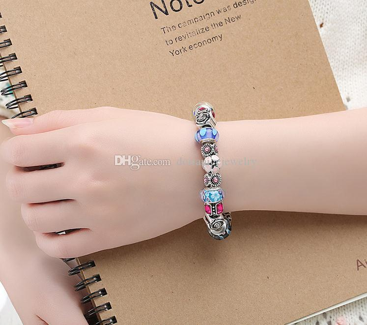 Elegant Charm Brackets with Colorful Murano Glass Beads & Silver Charms & Cubic Zirconia High Quality Bangle Bracelets BL064