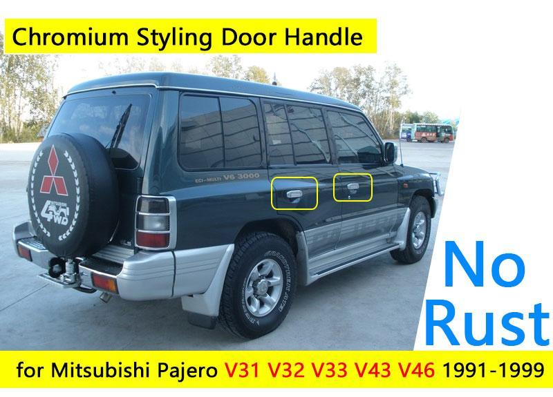 2018 exterior accessories car stickers for mitsubishi pajero 2 accessories chrome door handle v31 v32 v33 v43 v44 v45 v46 1991 1999 1996 1998 from lkmwdkawx