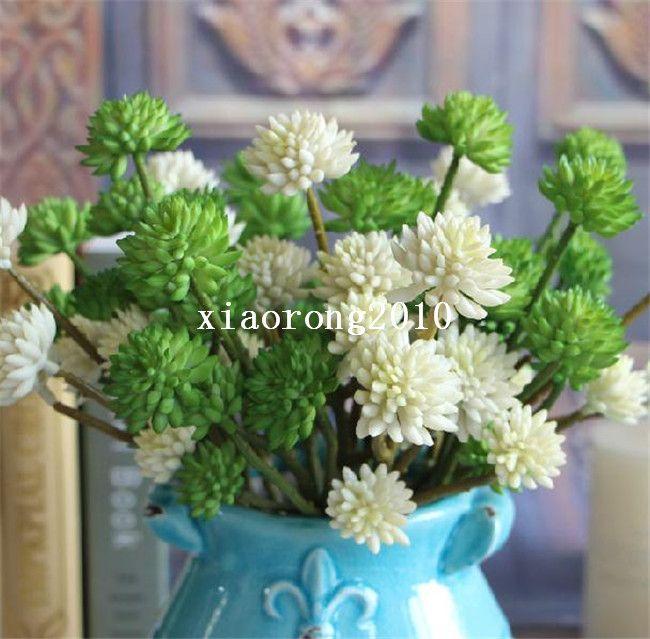"NEW Plastic Stone Lotus 32cm/12.6"" Length Cream/Purple/Green/Blue/Red 6 Flower Heads Bunch for Wedding Flower"