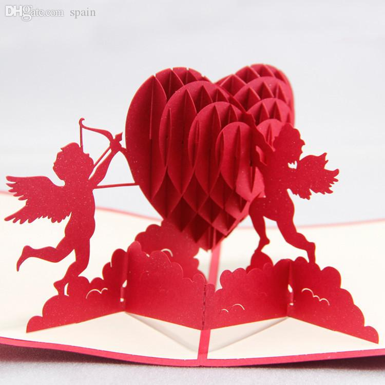 Wholesale diy cupids heart say love wishes 3d handmade greeting wholesale diy cupids heart say love wishes 3d handmade greeting card friendship gift cards with envelope paper cut pop up monuments red gift card programs m4hsunfo