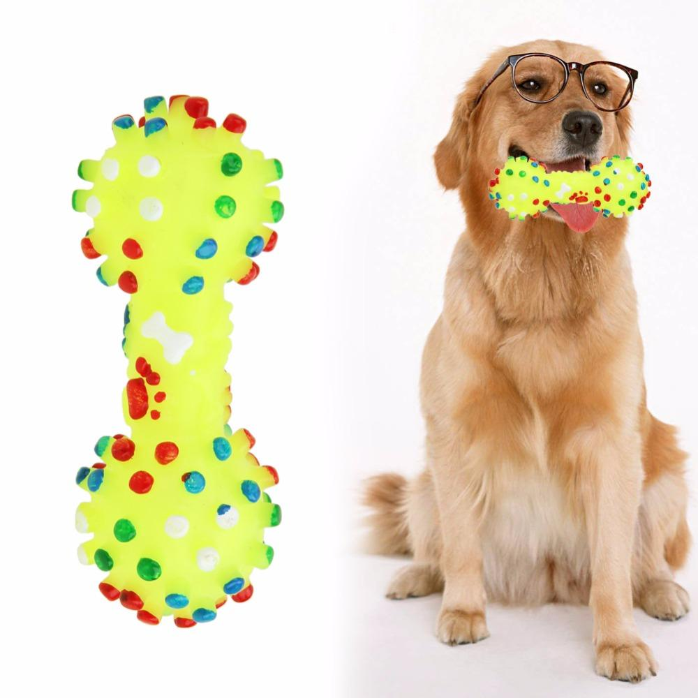 2019 Rubber Dog Toys Colorful Dotted Dumbbell Shaped Squeeze Squeaky For Faux Bone Pet Chewing Products From Oppodo 5 19 Dhgate Com
