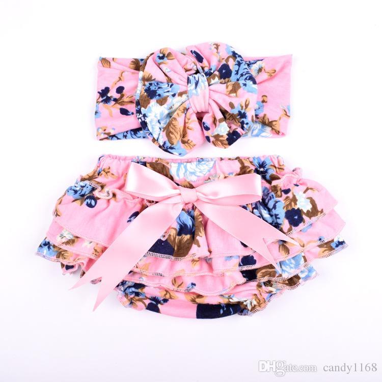 Atacado malha de algodão floral Bebés Meninas Bloomer Set Verde Ruffle recém-nascido Diaper incluir a correspondência Headband Set bebê Shorties