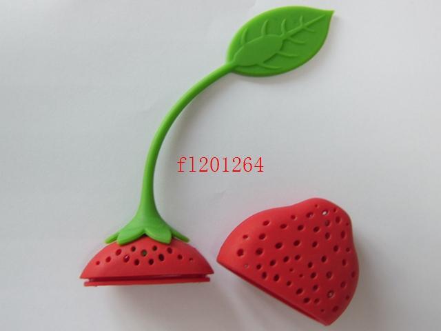 / 페덱스 DHL 무료 배송 실리콘 딸기 디자인 느슨한 차 잎 여과기 초본 향신료 Infuser 필터 도구