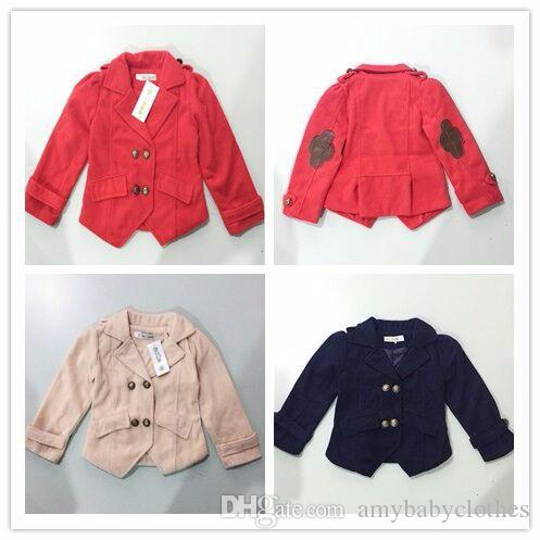 Retail 2-7Y fashion girls jacket new 2015 Autumn/Spring lovely princess warm cost for Kids solid cotton top quality kids coats