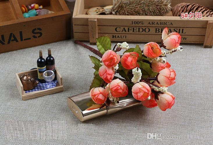 Christmas Supply 15 Mini Rose Artificial Flowers Selection Rosebuds Star Party Decoration Wreaths Silk Bud Factory Direct ER01