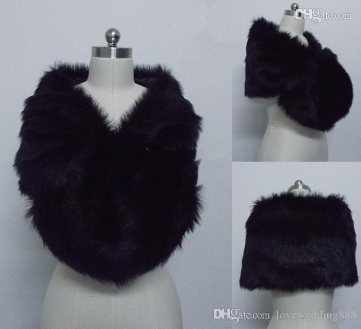 Fashion Black Faux Fur Wrap Bridal shawl Bolero Jacket Cheap Winter Warm Wedding Wraps In Stock For Party Bride Jackets