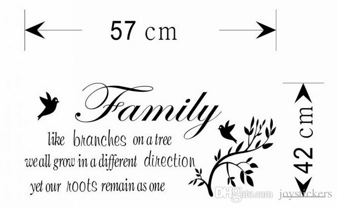 Family like branches quote wall stickers home decorations living room home decoration sticker removable wall decals
