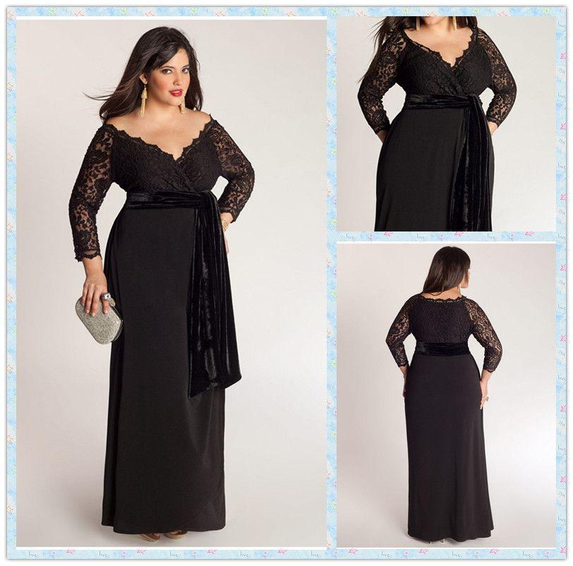 83e265f348d Elegant A-Line Plus Size Special Occasion Dresses Lace Top Sash  Off-Shoulder V-Neck 3 4 Long Sleeve Ankle-Length Ladies Formal Prom Gowns  Plus Size Dresses ...