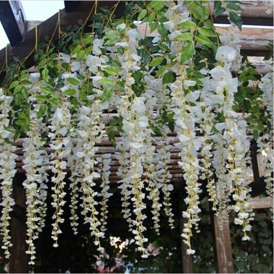 Home Wedding Decor Artificial Silk Elegant White Wisteria Flower Vine For Party Backdrop Decorations Shooting Props 2015 New Arrival