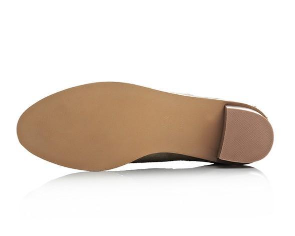 Pista ~ B056 34 Catena in vera pelle Stivali a basso tacco basso