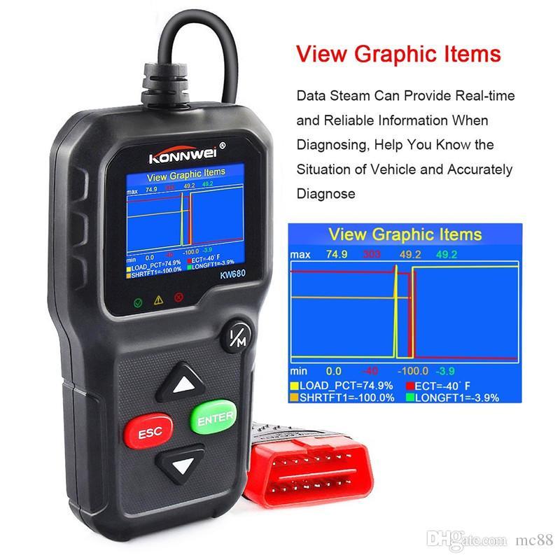 Varredor OBD2, OBD Universal II PODE Diagnóstico Scanner de Código De Falha Do Motor Do Carro Leitor-Scan Ferramenta para Verificar a Luz Do Motor KW680 com O2 Sensor de Teste