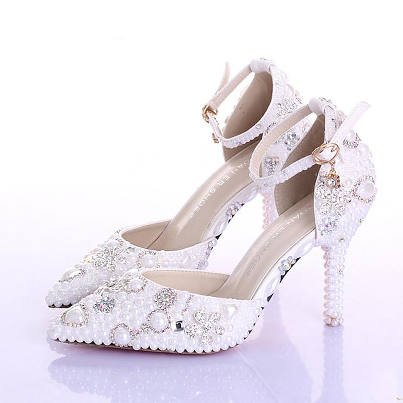 Fashion Handmade White Pearl Wedding Shoes Pointed Toe Ankle Strap Bridal Dresses Shoes Women Party Prom Shoes Rhinestone Pumps