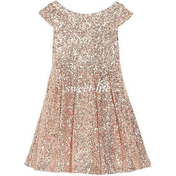 2016 Girls Pageant Dresses Bling Rose Gold Sequin Bateau Capped Sleeveless Zipper Tea Length Ruched Cheap Wedding Flower Girl Dresses A Line