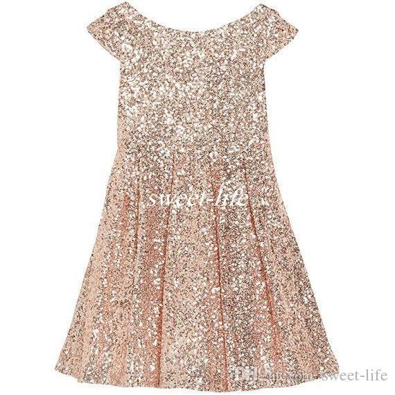 2019 Girls Pageant Dresses Bling Rose Gold Sequin Bateau Capped Sleeveless Zipper Tea Length Ruched Cheap Wedding Flower Girl Dresses A Line