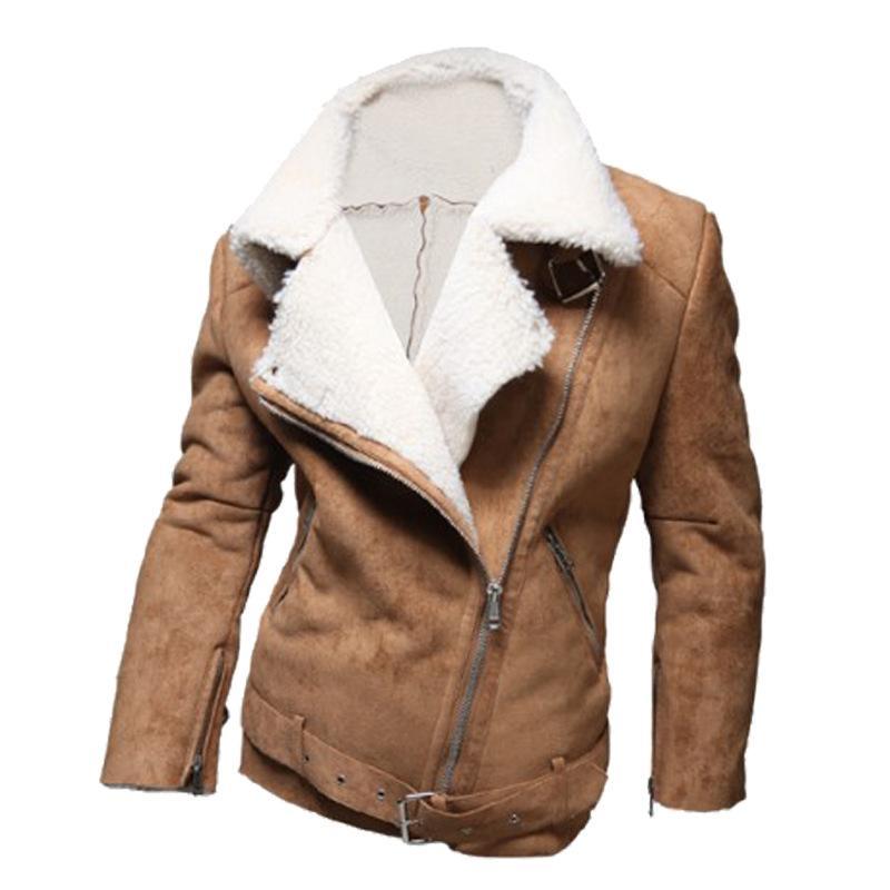 2015 Cold Winter Men Cool Thicken Jacket Suede Lamb Wool Warm Men ...