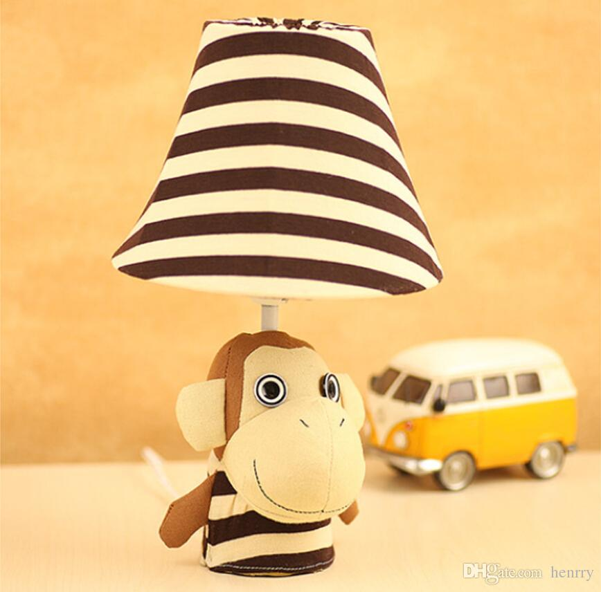 Cartoon mouth monkey fabric lamps, children's room bedroom bedside lamp, fashion cute desk lamps, garden lighting study