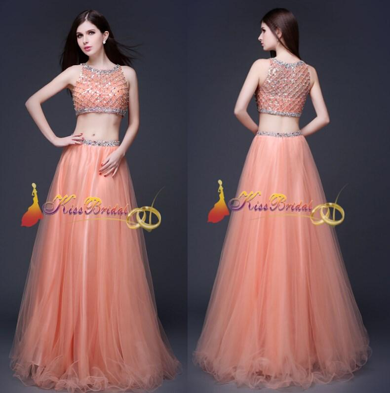 Crystal 2015 Prom Dresses Two Pieces Real Image Pageant Dresses ...